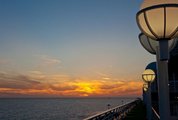 Sunset from deck of Crystal Serenity