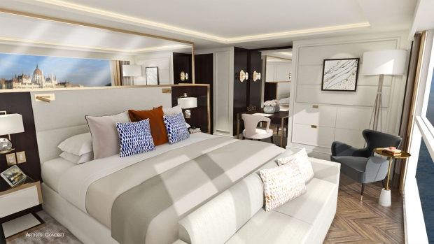 Artist's rendering of a Crystal River Cruises guest suite