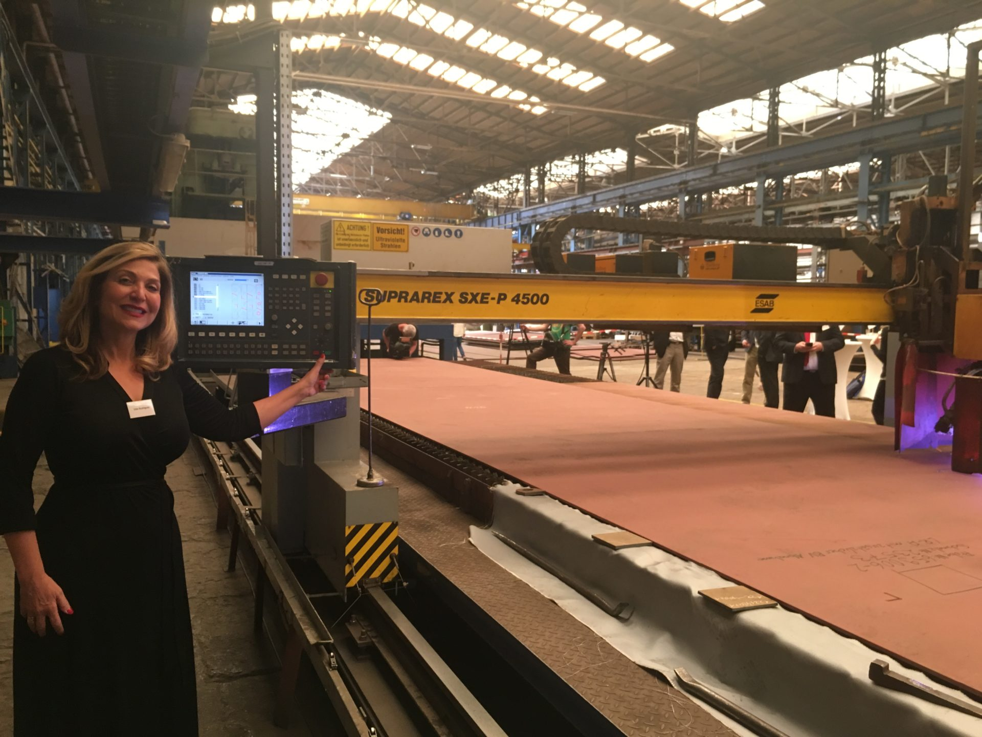 CEO Edie Rodriguez kicks off the steel cutting for the next era of Crystal River Cruises