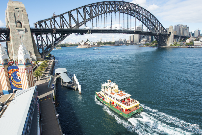 Sydney's famous Harbour Bridge as seen from Luna Park, across the bay.