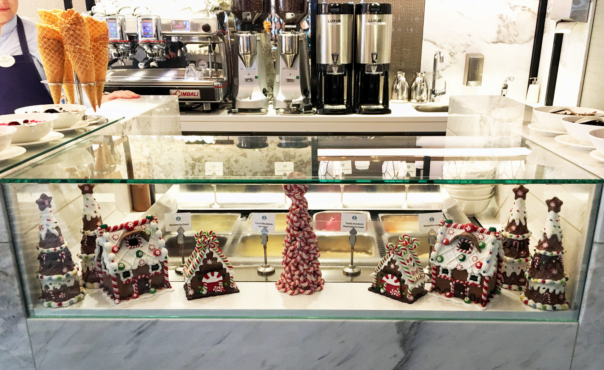 Crystal Mozart's ice cream bar is the ideal place to fine snow-capped gingerbread houses and other sweet treats.