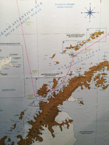 Crystal Serenity's route through the southernmost points of the earth